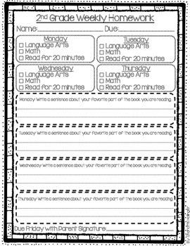 FREE Weekly Homework Sheet