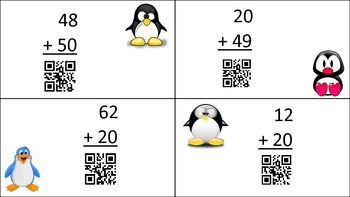 Free 2-Digit Addition with multiples of 10 Self-Checking with QR Codes