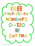 """Free 2"""" Square Numbers 0-120, Set Two"""