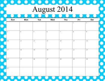 Free 2014-15 School Calendar Pages Bunches of Polka Dot Theme