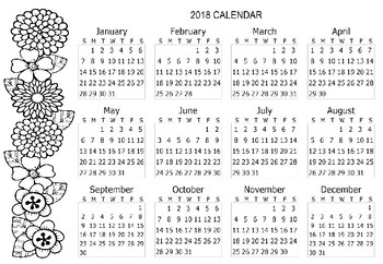 free 2018 calendar coloring page free 2018 calendar coloring page