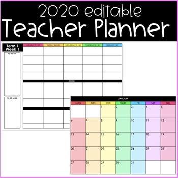 Free 2020 Editable Teacher Planner (Australia)
