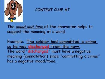 Free  (21 Items) of Middle School Practice with Context Clues Power Point