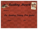 Free 25 Books Reading Certificate