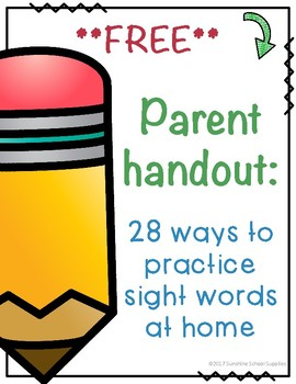 Free: 28 ways to practice sight words