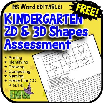 Free 2D and 3D Shapes Assessment for K.G.1-6  Fully Editable MS Word file