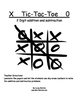 Free 2.NBT.5 Tic Tac Toe 2 Digit addition center station Daily 5 Math