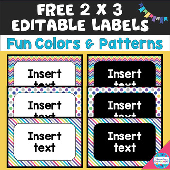 Free 2X3 Editable Labels in Colorful Chevron, Dots, and Stripes