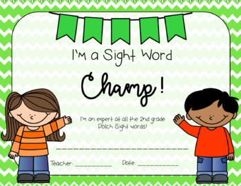 2nd Grade Sight Word Cards