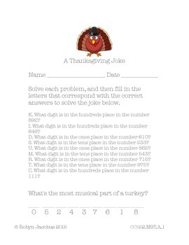 Free 2nd grade Thanksgiving place value math worksheet- solve for the joke
