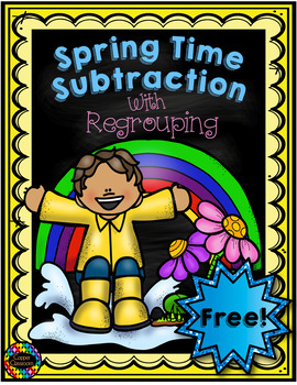 Free 3.NBT.2 Spring Themed 3 Digit Subtraction With Regrouping