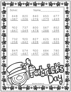 Free 3.NBT.2 St. Patrick's Day Themed 3 Digit Subtraction With Regrouping