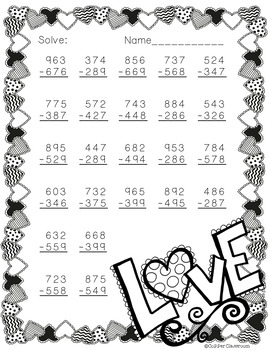 Free 3.NBT.2 Valentine's Day Themed 3 Digit Subtraction With Regrouping