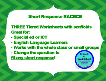 Short response question- 3 tiered worksheet with scaffolds