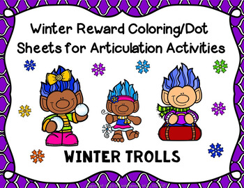 Winter Trolls Coloring/Dot Sheets For Any Articulation Activity