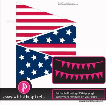 Free 4th July American Flag Bunting to Print