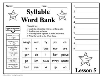 Syllable Mastery - 5th Grade:  Free - Lesson 1
