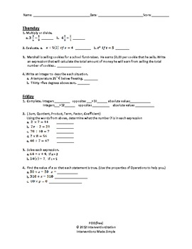 Free - 6th Grade Common Core Math - Problem of the Day by ...