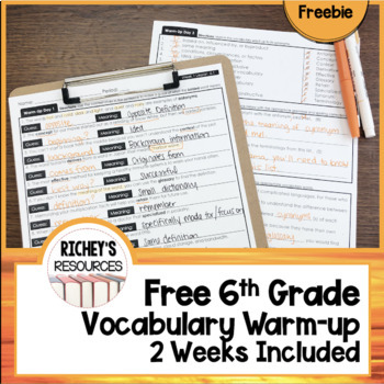 Free 6th Grade Vocabulary for Achievement Warm-up