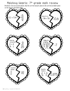 Free 7th grade math valentines day activities