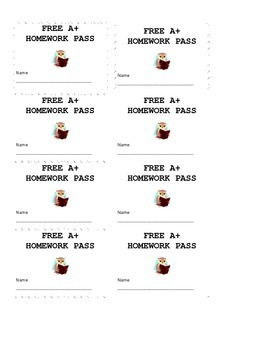 Free A+ Homework Pass tickets