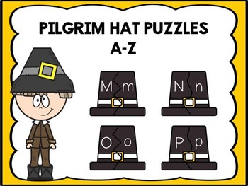 Free A-Z Letter Matching Puzzles -Pilgrim Hat