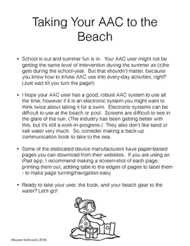 Free AAC Core Vocabulary at the Beach - Summer Communicating Fun