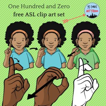 Free ASL Clip Art Set - 100 and 0 (Supplemental Set)