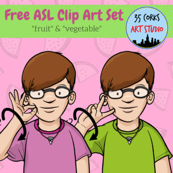 "Free ASL Clip Art Set - ""Fruit"" and ""Vegetable"""