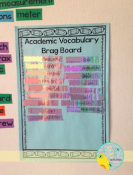 "Free!  Academic Vocabulary ""Brag Board"" Word Wall Resource"