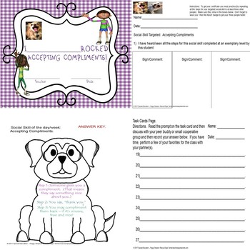 Accepting Compliments Worksheets ELD/Special Needs Ed
