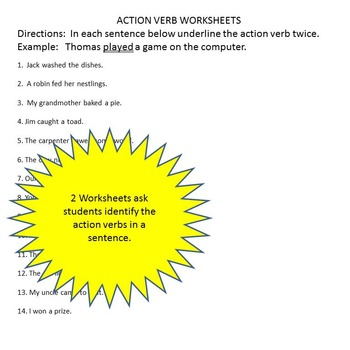 Free Action Verb Game and Worksheets