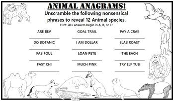 Free Activity Sheet - Animal Anagrams