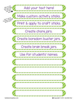 Free Activity or Name Sticks Template:  Make Your Own Name or Activity Sticks