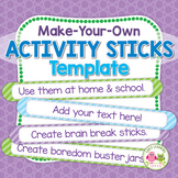 Summer Boredom Busters Activity Sticks for Kids   Free Activity Sticks Template