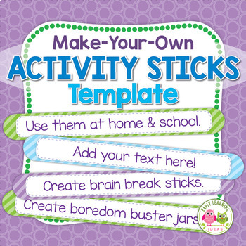 Free Activity or Name Sticks Template:  Make Your Own Name