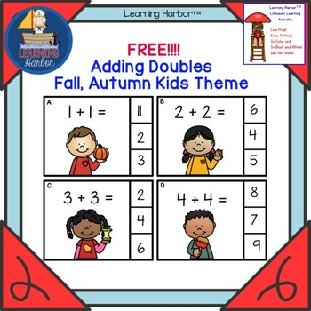 FREE Adding Doubles Kids and Pumpkins Theme