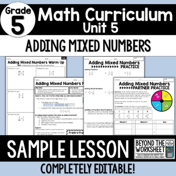 Free Adding Mixed Numbers Lesson : 5th Grade Curriculum Sample