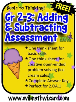 Free Adding and Subtracting Assessment