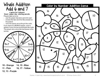 free addition color by number game whale color by number addition game