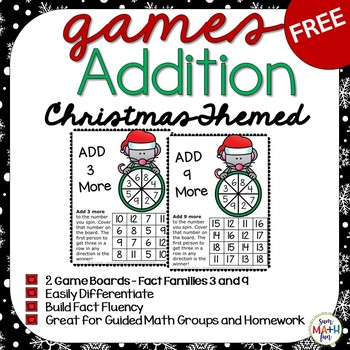 Christmas Free Addition Facts Games - Build Fact Fluency!