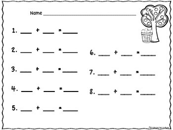 Free Addition Mats -Apples Sums To 8 Sample