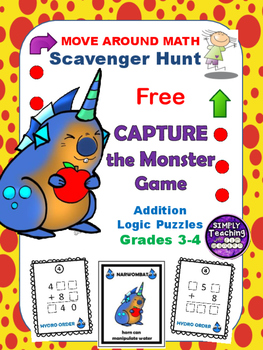 Free Addition Scavenger Hunt Logic Puzzle Game Grades 3-4 Go Monsters