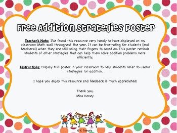 Free Addition Strategies Poster
