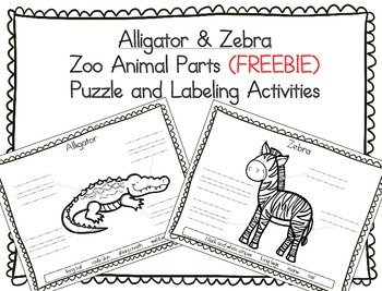 (FREE) Alligator & Zebra Zoo Animals - Puzzle Parts and Labeling Activities