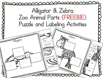 (FREE) Alligator & Zebra Zoo Animals - Puzzle Parts and La