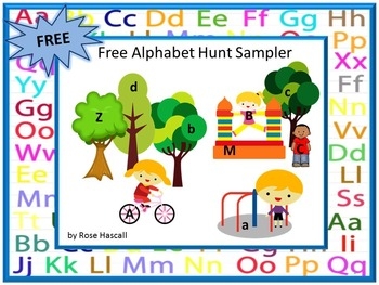 Free Alphabet Hunt Lower Case Upper Case Letters Interactive Task Cards