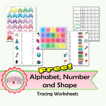 Free! Alphabet, Number and Shape Tracing Worksheet