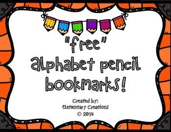 Free Alphabet Pencil Bookmark!
