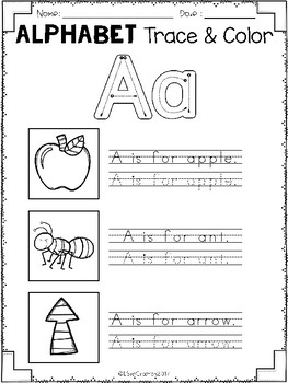 Free Alphabet Trace & Color